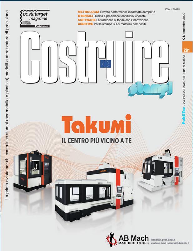 Articolo Takumi presente sulla rivista Costruire Stampi di Settembre 2020.